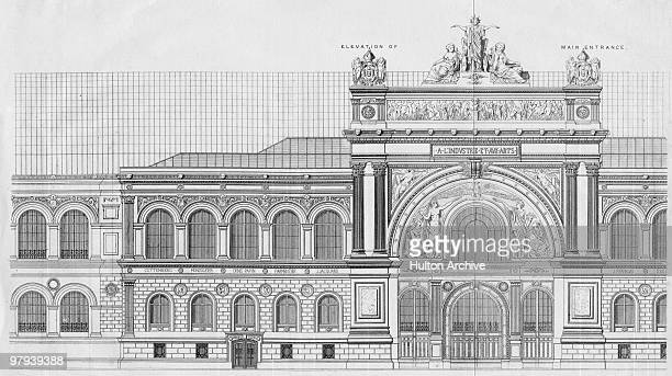 An elevation of the Palais de l'Industrie the main entrance to the Paris World's Fair 1855 Atop the gate is a sculpture of 'France crowning Art and...