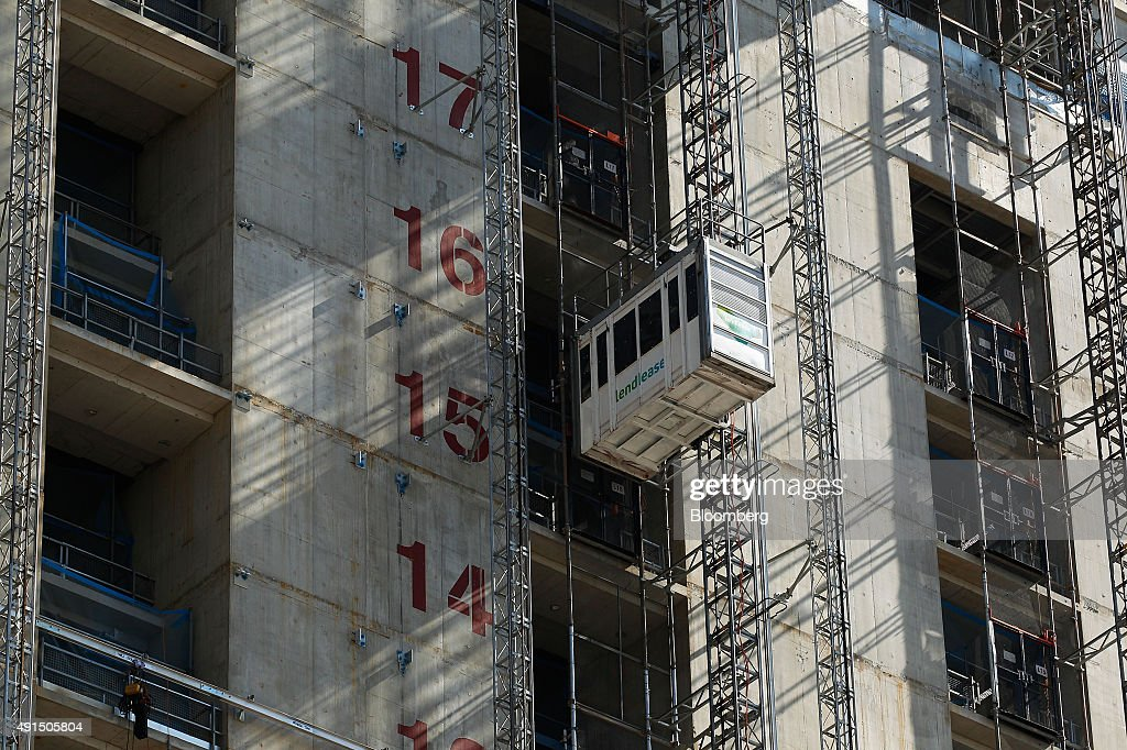 An Elevator Operates At A Building Under Construction At Lend Lease