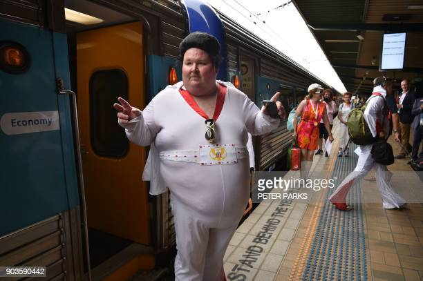 An Elvis fan poses at Central station before boarding a train to The Parkes Elvis Festival in Sydney on January 11 2018 The Parkes Elvis Festival is...
