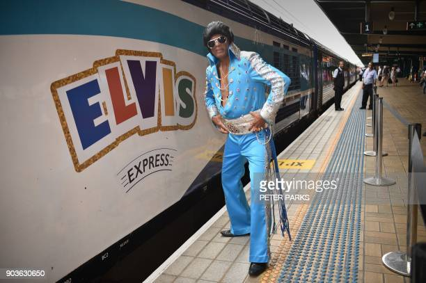 An Elvis fan poses at Central station before boarding a train to to The Parkes Elvis Festival in Sydney on January 11 2018 The Parkes Elvis Festival...