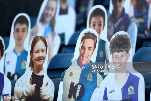 An Elvis Presley cardboard cut out is pictured in the stands ahead of the Sky Bet Championship match between Blackburn Rovers and Derby County at...