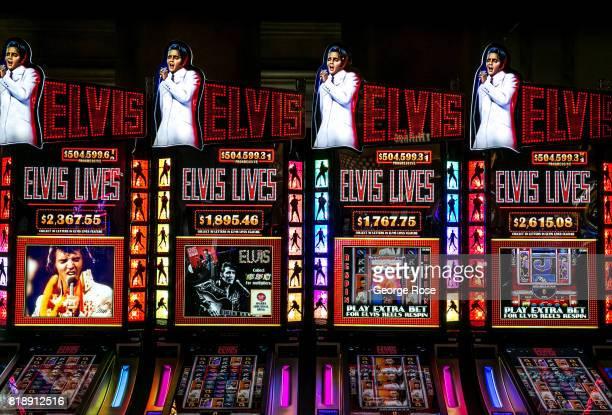 An Elvis Presley video slot machine at Caesars Palace Hotel Casino is viewed on July 13 2017 in Las Vegas Nevada Despite record temperatures tens of...