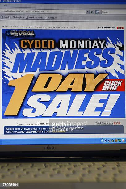 An email advertisement for a Cyber Monday sale is received on a computer in an office in Los Angeles California 26 November 2006 Cyber Monday as the...