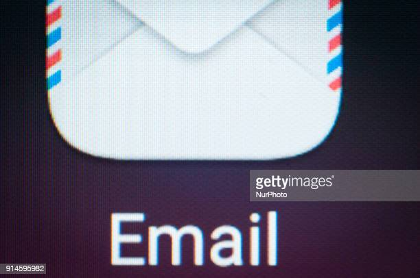 An email application is seen on an Android portable device on February 5 2018