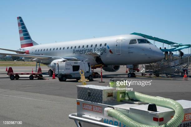 An Embraer ERJ-175 jetliner operated by American Airlines Group Inc. At Charles M. SchulzSonoma County Airport in Santa Rosa, California, U.S., on...