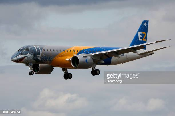 An Embraer SA E190 E2 passenger aircraft comes into land after performing during the flying display program on day two of the Farnborough...