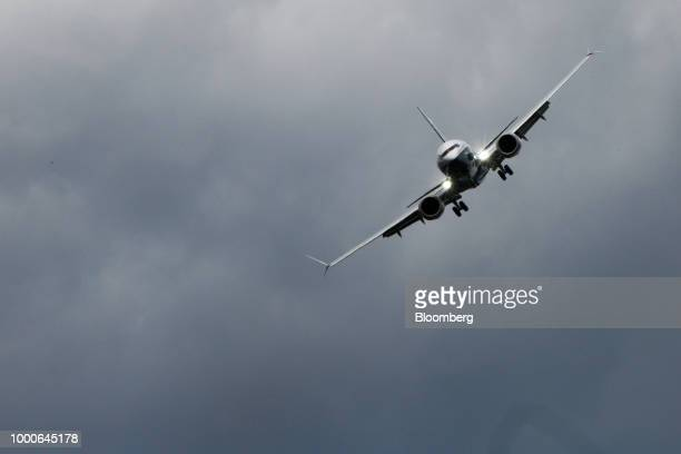 An Embraer SA Legacy 500 jet performs during the flying display program on day two of the Farnborough International Airshow 2018 in Farnborough UK on...
