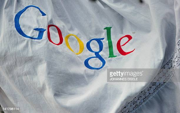 An embroided Google logo is pictured during a press conference on November 18 2010 in Hamburg on the launch of Google's street info service 'Street...