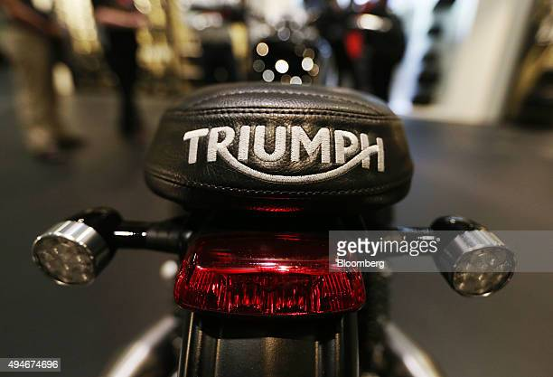 An embroidered company logo sits on the seat of a Triumph Brat Tracker motorbike made by Triumph Motorcycles Ltd in London UK on Wednesday Oct 28...