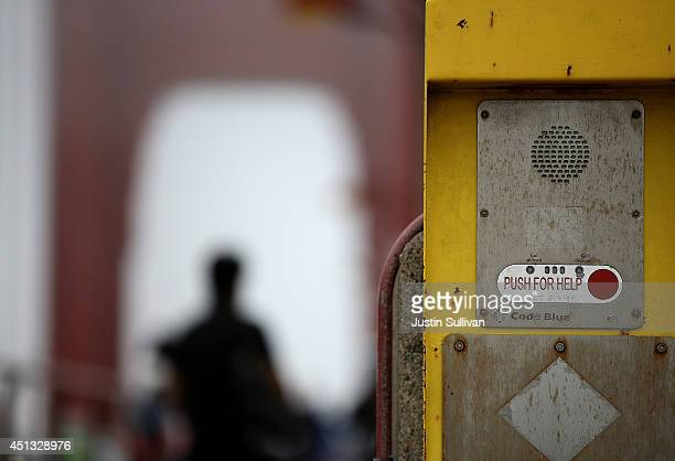An emergency call box is posted on the span of the Golden Gate Bridge on June 27 2014 in San Francisco California The Golden Gate Bridge district's...
