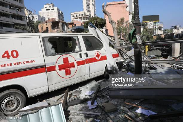 An emergency command vehicle of the Lebanese Red Cross is pictured in the aftermath of yesterday's blast that tore through Lebanon's capital and...