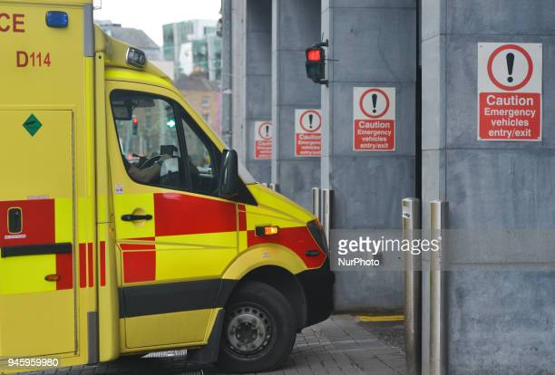 An emergency vehicle in Dublin city center On Friday April 13 in Dublin Ireland