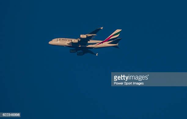 An Emirates A380 airplane flies over during the Clearwater Bay Open as part of the PGA Tour China at the The Clearwater Bay Golf & Country Club on 04...