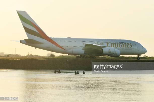An Emirates A380 prepares for take off at Sydney Airport on March 25, 2020 in Sydney, Australia. Prime Minister Scott Morrison has announced further...