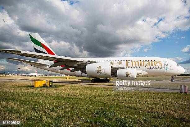 An Emirates Airbus A380 aircraft at Heathrow Airport on October 11 2016 in London England The UK government has said it will announce a decision on...