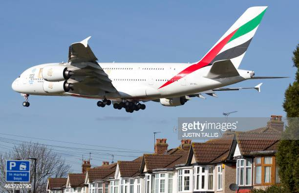 An Emirates Airbus A380 aircraft comes into lane at Heathrow Airport in west London on February 18 2015 Heathrow's expansion plan to build a third...