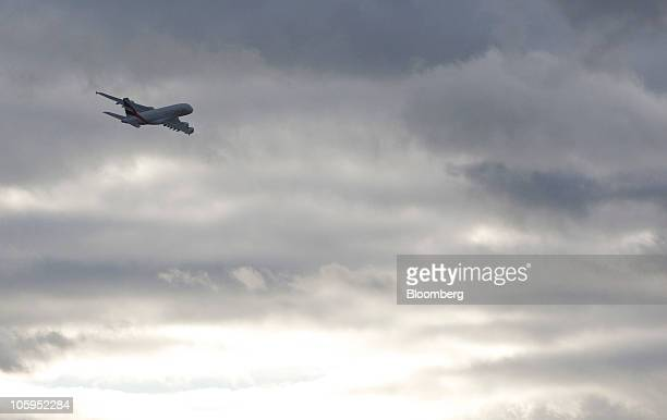 An Emirates Airline Airbus A380 airplane takes off from Manchester airport in Manchester UK on Thursday Oct 21 2010 The A380 designed to carry 500...