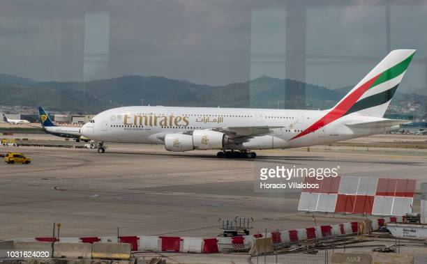 An Emirates Airline Airbus A380 taxis in El Prat international airport on September 04 2018 in Barcelona Spain A similar airplane with 521 passengers...