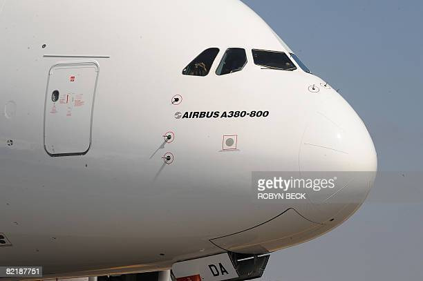 An Emirates Airlines Airbus A380 arrives at Los Angeles International Airport from New York on August 5 2008 Emirates is bringing its A380 to major...