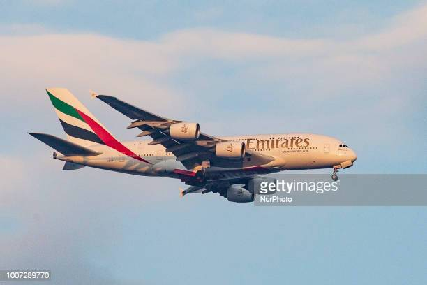 An Emirates airplane the doubledecker Airbus A380 with registration A6EEF is approaching Athens quotVenizelosquot International airport in Greece...
