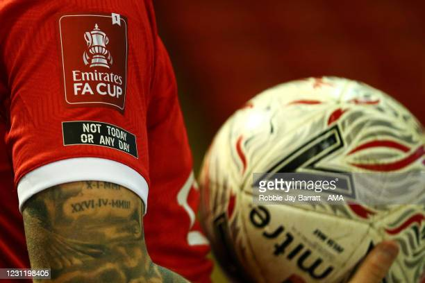 An Emirates FA Cup patch is seen next to a Not Today Or Any Day patch during The Emirates FA Cup Fifth Round match between Barnsley and Chelsea at...