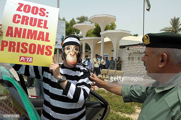 An Emirati policeman talks to an activist of the People for the Ethical Treatment of Animals , wearing a prison suit and a monkey mask, outside the...