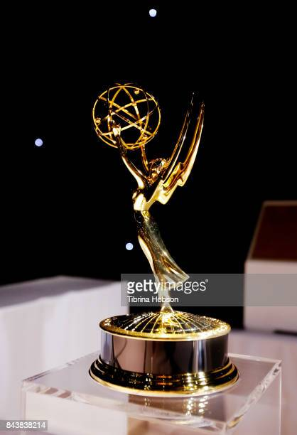 An Emmy Award on display at the Television Academy's press preview for The 2017 Emmy Awards Governors Ball and Creative Arts Governors Ball...