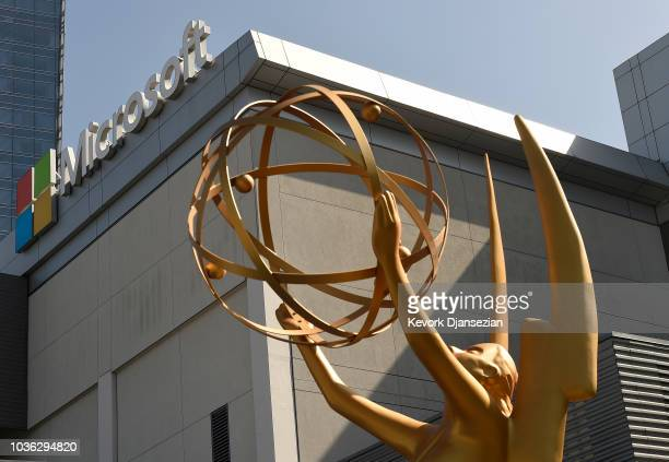 An Emmy statue is placed at the entrance of the gold carpet at the entrance of Microsoft Theater for the 70th Emmy Awards on September 13 2018 in Los...