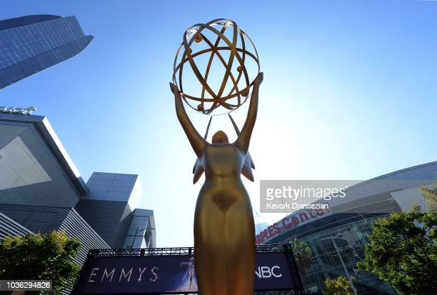 An Emmy statue is placed at the entrance of the gold carpet at the entrance of Microsoft Theater for the 70th Emmy Awards on September 13, 2018 in...