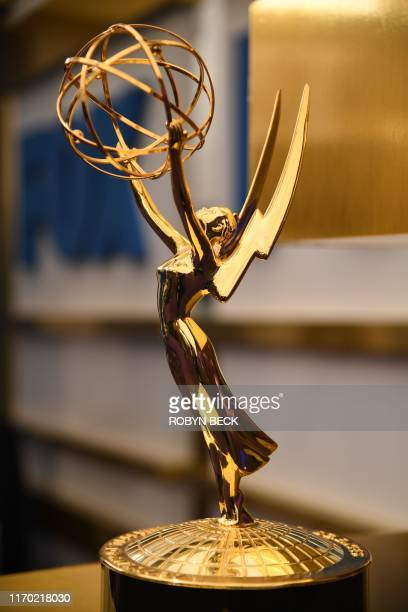 An Emmy statuette is seen on the red carpet before guests arrive for the 71st Emmy Awards at the Microsoft Theatre in Los Angeles on September 22 2019