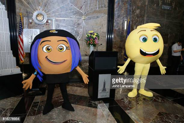 An Emoji character from the film The Emoji Movie celebrates World Emoji Day at Empire State Building at The Empire State Building on July 17 2017 in...