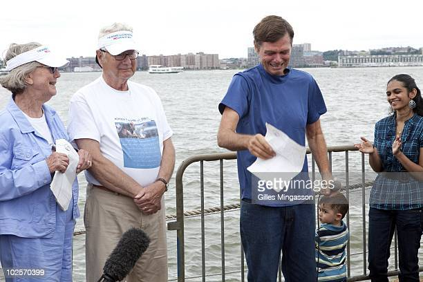 An emotional American sailor Reid Stowe breaks down as he thanks his parents at left after returning from 1152 days at sea at the helm of his...