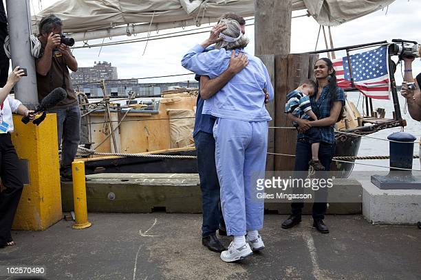 An emotional American sailor Reid Stowe greets his mom as he walks on land for the first time after 1152 days at sea at the helm of his handbuilt...