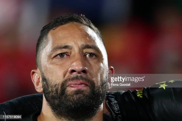 An emotional Benji Marshall of the Kiwis during the Oceania league test between the Kiwis and Mate Ma'a Tonga at Mt Smart Stadium on June 22, 2019 in...