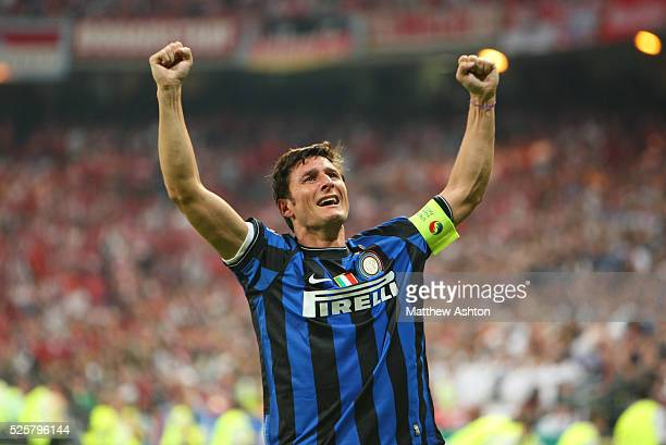 An emotional captain Javier Zanetti of Inter Milan celebrates winning the UEFA Champions League final 2010 | Location Madrid Spain