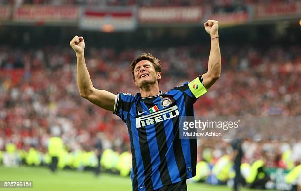 An emotional captain Javier Zanetti of Inter Milan celebrates winning the UEFA Champions League final 2010 | Location Madrid Spain