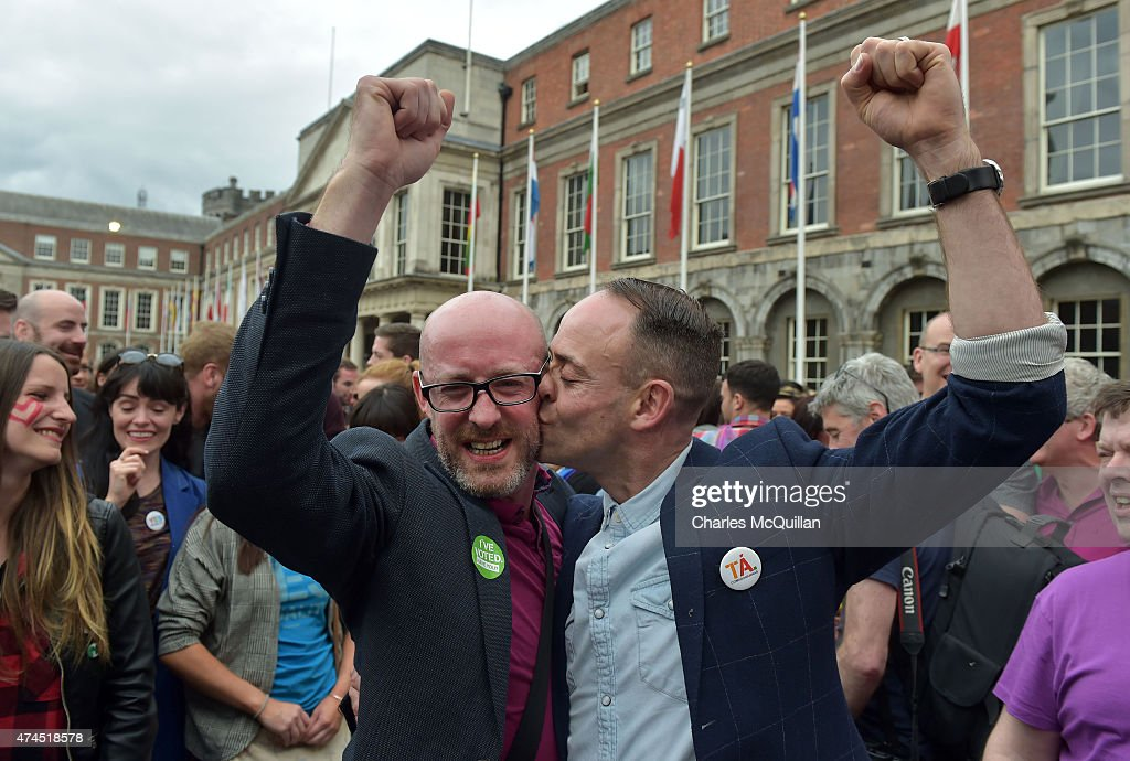 An emotional gay couple celebrate in Dublin Castle Square as the result of the referendum is relayed on May 23, 2015 in Dublin, Ireland. Voters in the Republic of Ireland were taking part in a referendum on legalising same-sex marriage on Friday. The referendum was held 22 years after Ireland decriminalised homosexuality with more than 3.2m people being asked whether they want to amend the country's constitution to allow gay and lesbian couples to marry. Ireland voted overwhelmingly to legalise same-sex marriage in a historic referendum. More than 62% voted in favour of amending the country's constitution to allow gay and lesbian couples to marry. It is the first country in the world to legalise same-sex marriage through a popular vote.