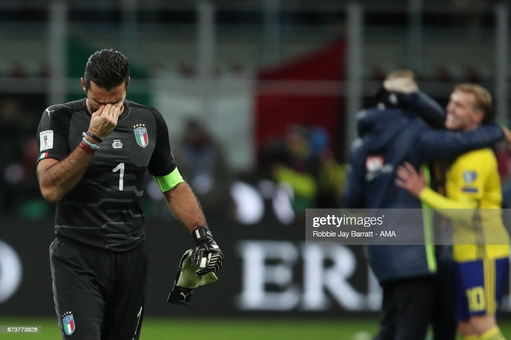 An emotional Gianluigi Buffon of Italy at full time during the FIFA 2018 World Cup Qualifier Play-Off: Second Leg between Italy and Sweden at San Siro Stadium on November 13, 2017 in Milan, .