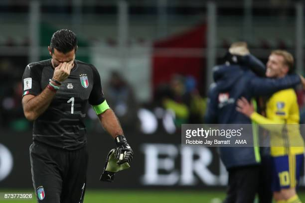 An emotional Gianluigi Buffon of Italy at full time during the FIFA 2018 World Cup Qualifier PlayOff Second Leg between Italy and Sweden at San Siro...