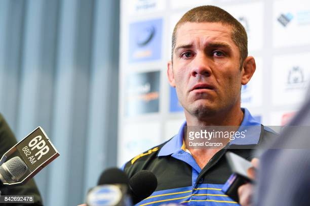 An emotional Matt Hodgson speaks to the media during a press conference at Rugby WA HQ on September 5 2017 in Perth Australia