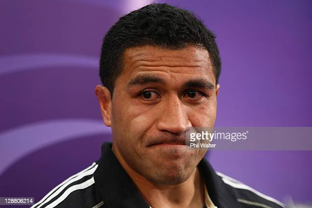 An emotional Mils Muliaina of the All Blacks speaks to media after being ruled out of the Rugby World Cup due to injury during a New Zealand All...