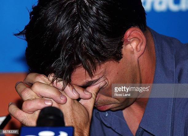An emotional New Zealand cricket captain Stephen Fleming takes a moment to compose himself as he answers questions following the teams early return...