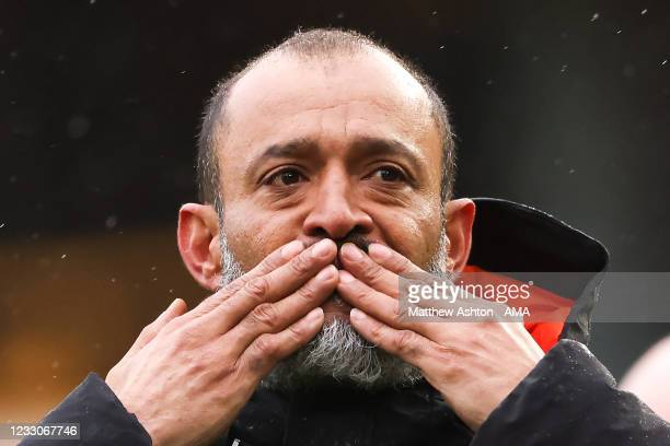 An emotional Nuno Espirito Santo the head coach / manager of Wolverhampton Wanderers blows a kiss to the fans at full time on his final game in...