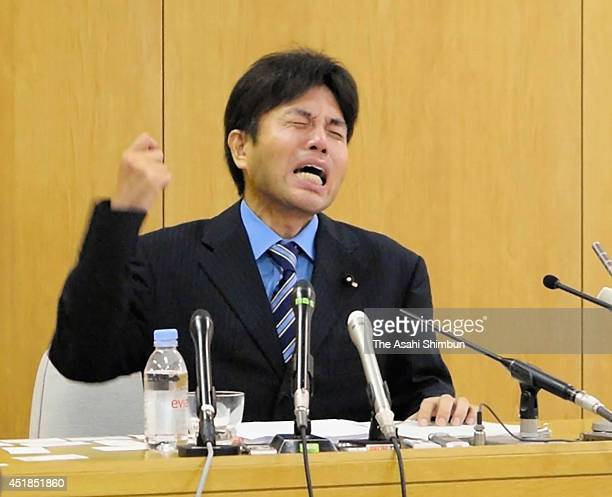 An emotional Ryutaro Nonomura a Hyogo prefectural assemblyman explains why he became a politician during a press conference on July 1 2014 in Kobe...