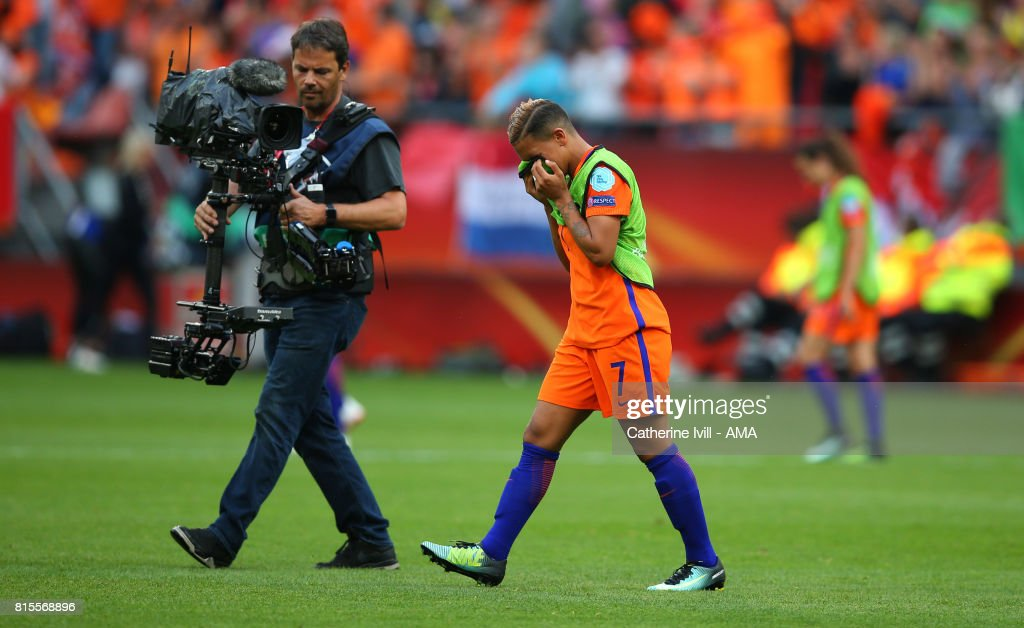 An emotional Sanice Van de Sanden of Netherlands Women walks off at the end after scoring the winning goal during the UEFA Women's Euro 2017 Group A match between Netherlands and Norway at Stadion Galgenwaard on July 16, 2017 in Utrecht, Netherlands.