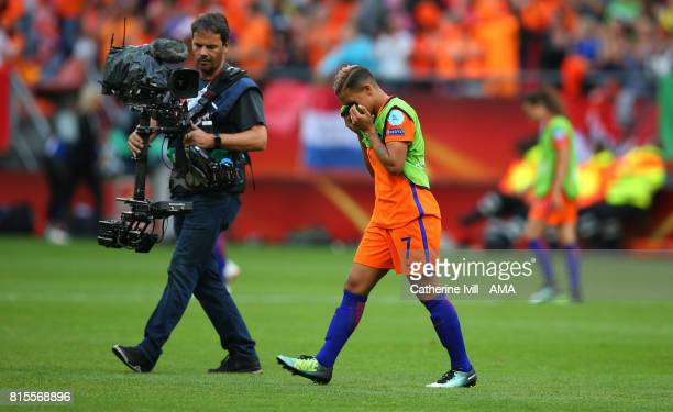 An emotional Sanice Van de Sanden of Netherlands Women walks off at the end after scoring the winning goal during the UEFA Women's Euro 2017 Group A...