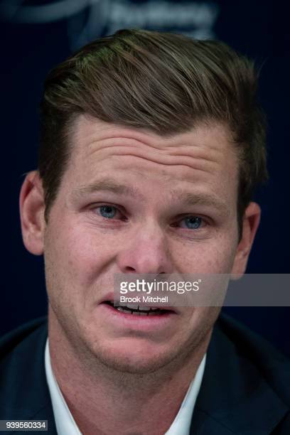 An emotional Steve Smith former Australian Test cricketer confronts the media at Sydney International Airport on March 29 2018 in Sydney Australia...