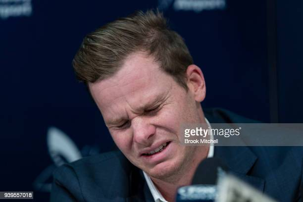 An emotional Steve Smith, the former Australian Test Cricket Captain, fronts the media at Sydney International Airport on March 29, 2018 in Sydney,...