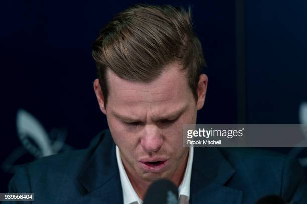 An emotional Steve Smith the former Australian Test Cricket Captain confronts the media at Sydney International Airport on March 29 2018 in Sydney...