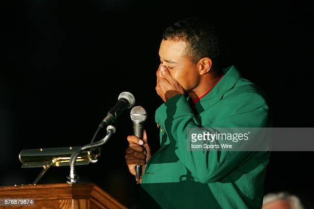 An emotional Tiger Woods is choked up while speaking to the crowd during the award ceremony after he wins his fourth Masters and ninth major...